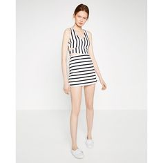 STRIPED JUMPSUIT DRESS (50 CAD) ❤ liked on Polyvore featuring dresses