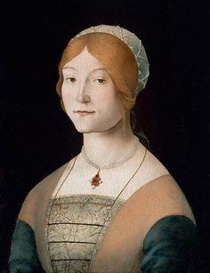 Pearl necklace -- Caterina's Generous Chests --  1490 Lorenzo Costa Renaissance dress Italian https://www.artexperiencenyc.com/social_login/?utm_source=pinterest_medium=pins_content=pinterest_pins_campaign=pinterest_initial
