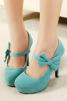 Bow style mint heel shoes fashion