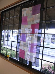 Maker not named, part of the Daido-cho POJAGI Exhibition at Daishin gallery in Japan Home Textile, Textile Art, Patchwork Curtains, Glass Curtain, Fabric Board, Types Of Craft, Korean Traditional, Fabric Squares, Cafe Interior