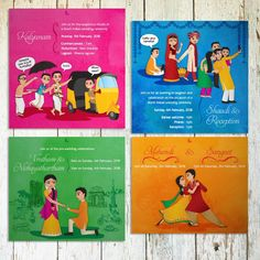 Picture from Pathrika Invitations Photo Gallery on WedMeGood. Browse more such photos & get inspiration for your wedding Wedding Card Wordings, Indian Wedding Invitation Cards, Indian Wedding Cards, Creative Wedding Invitations, Doodle Wedding, Comic Wedding, Wedding Illustration, Wedding Posters, Wedding Mandap
