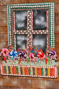 a window in life size gingerbread house