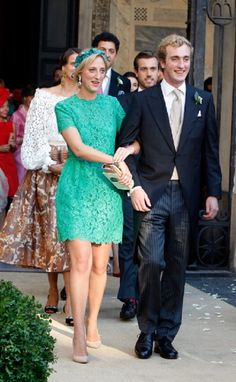 Princess Maria Laura with her younger brother Prince Joachim attends the wedding of their eldest brother Prince Amedeo Of Belgium to Elisabetta Maria Rosboch Von Wolkenstein at Basilica Santa Maria in Trastevere, 05.07.2014 in Rome, Italy.