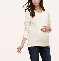 Maternity Braided Sweatshirt - Cleverly quilted in a softly braided pattern, this super soft style is endlessly alluring. Crew neck. Long sleeves. Banded cuffs and hem.