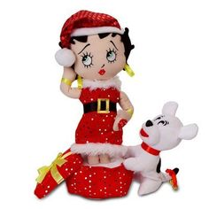 Christmas Betty Boop And Pudgy Plush: Standing in a festive gift box in her sexy Santa ensemble with best pal at her feet, Betty sings… Christmas Hanukkah, Christmas Scenes, Christmas Baby, Christmas Gifts, Xmas, Christmas Presents For Babies, Betty Boop Doll, Animated Halloween Props, Religious Gifts