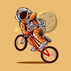 Astronaut Illustration, Bicycle Illustration, Space Illustration, Space Exploration Games, Astronaut Wallpaper, Bike Drawing, Notebook Cover Design, Space Artwork, Cycling Art