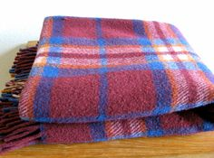 Maroon Plaid Wool Blanket/Throw by MarketHome on Etsy, $54.00