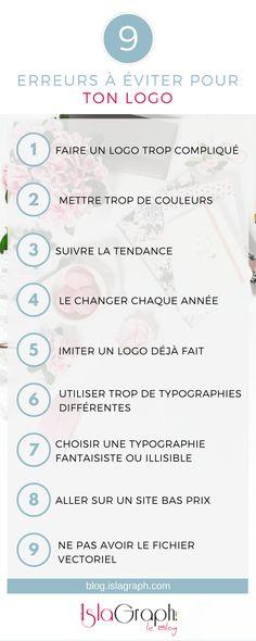Infographie : 9 erreurs à éviter lors de la réalisation de ton logo.