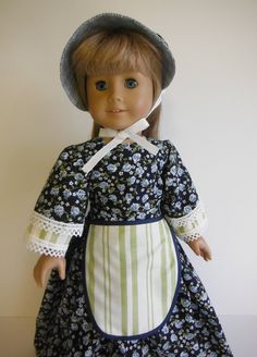 18 inch Doll Clothes fits American Girl - Prairie Dress, Bonnet, Apron by HoleInMyBucket on Etsy