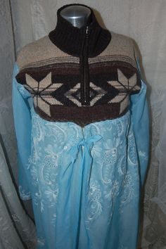 Wool Sweater Blue Lace Long JacketGyspy Boho by Ramblinrose67, $55.00
