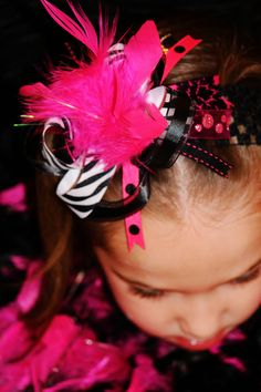 Over The Top Bow lil' Diva hair bow baby girls. $8.00, via Etsy.