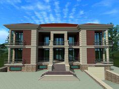 Проект двухэтажного загородного особняка. Главный фасад. Выполнен мною на заказ. Проект полностью авторский.