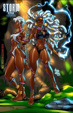 Sexy Black Art, Black Love Art, Black Girl Art, Black Art Painting, Black Artwork, Marvel Girls, Comics Girls, Black Anime Characters, Female Characters
