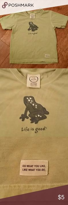 Frog Life is Good Tee-Shirt Size 2-4T This Tee Shirt is super soft and in Good Used Condition Perfect for Play clothes.  (Consider bundling to get more value out of the cost of Shipping and feel free to make offers on bundles) Thank you for visiting my closet!! SMOKE FREE CLEAN HOME Life is Good Shirts & Tops Tees - Short Sleeve