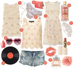 """""""1. a pearl white rosary  2. feminine, beige Spring and Summer tank tops  3. a flask for sneaking a drink  4. pretty panties for Trip Fontaine  5. ruffled floral dress  6. peach schnapps  7. homecoming queen tiara  8. pink Lolita heart-shaped sunglasses  9. The Beatles on vinyl  10. denim cutoffs for lounging on the front lawn  11. perfume  12. coral colored lipstick""""     From electric raspberry's """"steal her style: Lux Lisbon"""" (from the Virgin Suicides)."""