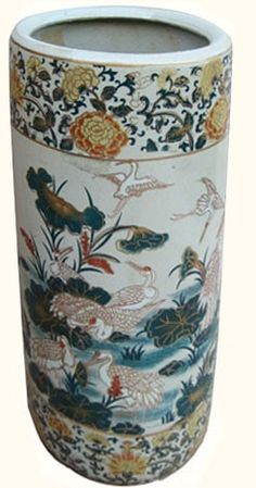 Chinese Porcelain Umbrella Stand with Painted Cranes & Lilies - Oriental Furnishings