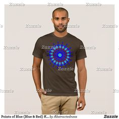 Points of Blue (Blue & Red) Kaleidoscope T-Shirt by Abstractedness - Mandala / Kaleidoscope Style design -