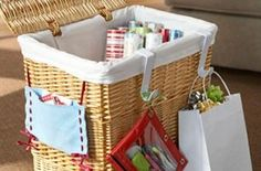 Convert a hamper to gift wrap storage...great idea.