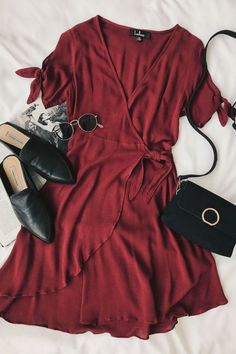 Burgundy Wrap Dress Street Style and Fashion Inspiration 2018 #fashion #streetstyle #girboss
