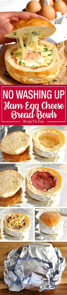 No Washing Up Ham Egg Cheese Bread Bowls http://www.recipetineats.com