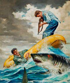 Shark Battle | Male-Centric Pulp Art Illustration | Sugary.Sweet | #Pulp #PulpArt #Illustration #Vintage #Men