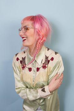 Pink Hair, fishtail braid, cat print western silken favours shirt, clear glasses, Iolla SS16 Shoot | www.honeypopkisses.com