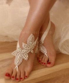 Rhinestone barefoot sandals Beach wedding sandals from Weddinggloves by DaWanda.com