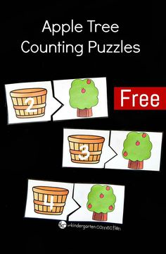 These apple tree counting puzzles are perfect for a back to school, fall, or apple theme with preschoolers or kindergarteners! Preschool Apple Theme, Fall Preschool, Preschool Lessons, Kindergarten Math, Math Activities, Preschool Activities, Preschool Apples, Kindergarten Apple Theme, Preschool Learning