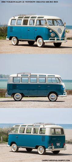 Car Pictures: 1966 Volkswagen 21-Window Deluxe Micro Bus. Visit: http://carpictures74.blogspot.com/