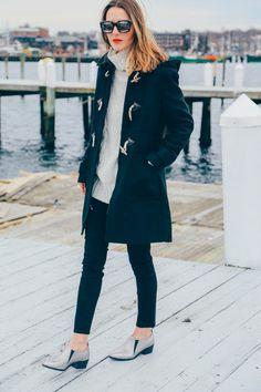 wool toggle coat, nautica, turtleneck sweater, new england, newport, yosi samra demi booties, metallic ankle boots, matte red lips