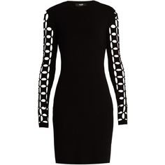 Versus Versace Cut-out sleeves dress (650 AUD) ❤ liked on Polyvore featuring dresses, black, mesh cocktail dress, cut out dresses, sleeved dresses, cut out mini dress and cutout mini dress