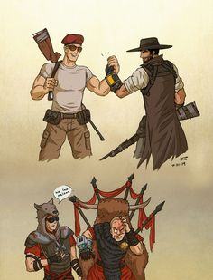 A Couple Of Problem Solvers by JessyRuiz on DeviantArt Fallout Comics, Fallout Funny, Fallout Fan Art, Fallout Concept Art, Boone Fallout, Bioshock Cosplay, Fallout New Vegas, Cartoon Shows, Post Apocalyptic