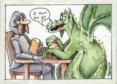 ACEO TW AUG Original Painting George And Dragon fantasy cartoon saint knight  #Cartoon