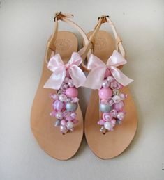 Bridal Shoes handmade leather sandals decorated with by MyMarmade