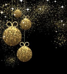 Golden christmas ball with black background vector 04 - WeLoveSoLo