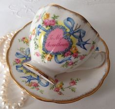 Queen Anne To My Sweetheart Tea Cup & Saucer  by TheEclecticAvenue