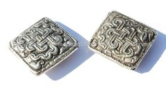 2 BEADS - Tibetan Repousse Silver-plated Metal Endless Knot Square Focal Beads - Infinity Knot - Unique Ethnic Beads - B1686-2