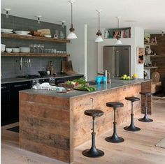 Rustic+modern+industrial kitchen with kitchen island.