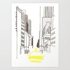 New York Cab Art Print by Fern Newton - $14.04