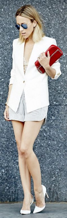 Zara White And Blue Women's Loose Striped Tailored Shorts by Damsel In Dior