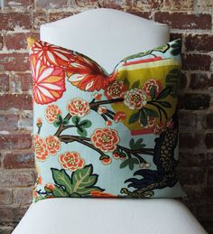 Chiang Mai Dragon Aquamarine Pillow Cover - like the matching robin's egg blue back. (20 in square 85.00)