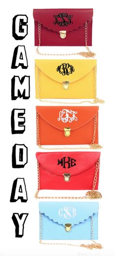 Clutches are the perfect bag for Game days! Get one now in your school colors only at marleylilly.com!
