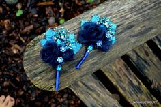 Dazzling Blue jeweled corsage
