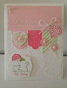 2013 Stampin' Up Spring Catalog products on baby card, except for duck (Annual catalog)
