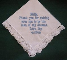 Personalized Wedding Gift Wedding by EmbroiderybyLinda on Etsy, $20.00  embroider or hand written for Mom #2