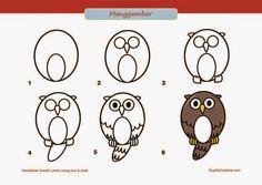 kerajinan anak SD/paud, cara & langkah menggambar burung hantu