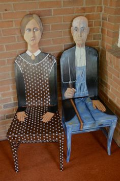 American Gothic handpainted chairs by artist Todd Fendos $1,095.00, via Etsy. More can also be viewed at www.ToddFendos.com #AmericanGothic #grantwood #paintedfurniture