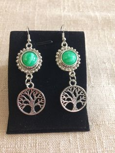 Ginger Snap Style Inspired Earrings  //  Tree of Life  //  Petite Green Marbled Snap Charms Buttone  //  Silver Dangle Earrings
