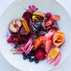 The color-coded salad is one of Babylonstoren's signature dishes and always features a mix of fruits and vegetables on the same plate. Chef Maranda Engelbrecht says produce that looks good together tastes great together, too, and she's developed specific vinaigrettes to complement the red, yellow, and green options.