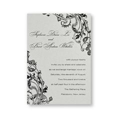 Pearlized Perfection Wedding Invitations - This appealing invitation starts with pearlized heavyweight single panel card in your choice of colors. A beautiful flourish design frames your first names and invitation wording. The color of the flourish design will be the same color as the ink you choose for the wording. We recommend darker ink colors for this invitation.
